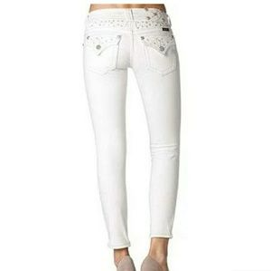 RARE Miss Me signature ankle skinny white jeans 27